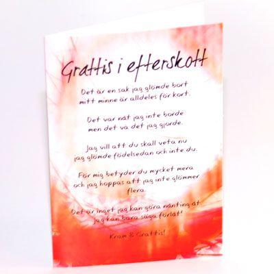 grattis i efterskott Gratulationskort Grattis i efterskott, Gratulationskort  grattis i efterskott